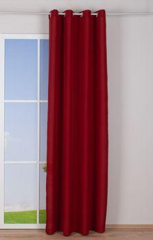 Ösenvorhang Brilliant Leinenoptik einfarbig rot 140x245cm – Bild 3