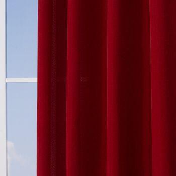 Ösenvorhang Brilliant Leinenoptik einfarbig rot 140x245cm – Bild 5