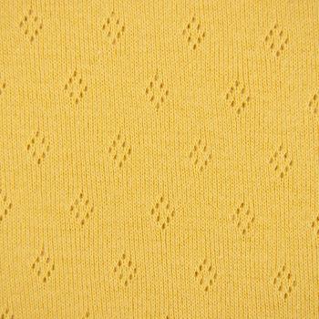 Feinstrick Jersey Baumwolle Pointoille Lochmuster einfarbig senfgelb 1,4m Breite – Bild 2