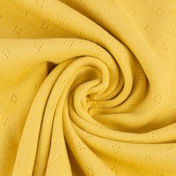 Feinstrick Jersey Baumwolle Pointoille Lochmuster einfarbig senfgelb 1,4m Breite – Bild 3