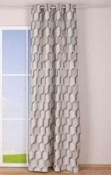 Ösenvorhang Jacquard grafisch weiß grau silberfarbig 140x260cm – Bild 2
