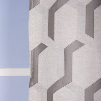 Ösenvorhang Jacquard grafisch weiß grau silberfarbig 140x260cm – Bild 5