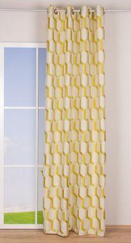 Ösenvorhang Jacquard grafisch weiß senf gelb 140x260cm – Bild 2