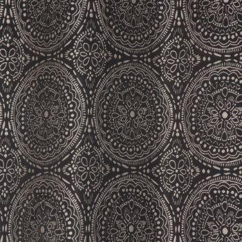 Ösenvorhang Jacquard Mandala floral schwarz weiß 135x245cm – Bild 5