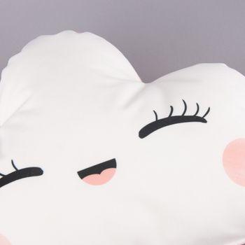 Magma Deko Kissen Wolkenform mit Gesicht weiß lachsrosa 30x50cm – Bild 3