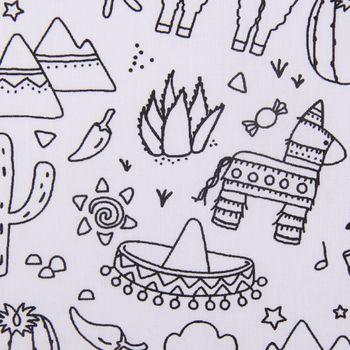 Baumwollstoff Ausmalstoff PINATA Lama Sombrero Kaktus 1,5m Breite – Bild 2