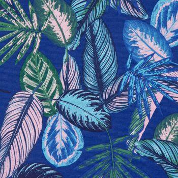 SCHÖNER LEBEN. Kissenhülle Dschungelpflanzen blau grün rosa – Bild 3
