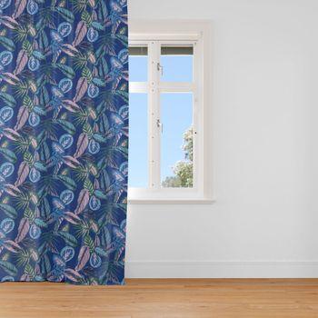 SCHÖNER LEBEN. Vorhang Dschungelpflanzen blau grün rosa 245cm oder Wunschlänge – Bild 1