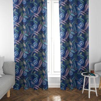SCHÖNER LEBEN. Vorhang Dschungelpflanzen blau grün rosa 245cm oder Wunschlänge – Bild 2