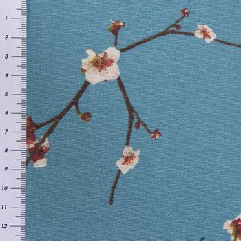 SCHÖNER LEBEN. Kissenhülle Kirschblüten blau braun weiß – Bild 6