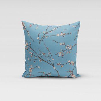 SCHÖNER LEBEN. Kissenhülle Kirschblüten blau braun weiß – Bild 10