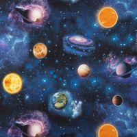 Dekostoff Baumwollstoff Weltall Weltraum Planeten Erde blau bunt 1,40m Breite