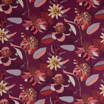 Dekostoff Baumwolle ECHINOPS große Blumen Blüten Blätter beere bunt 1,5m Breite – Bild 3