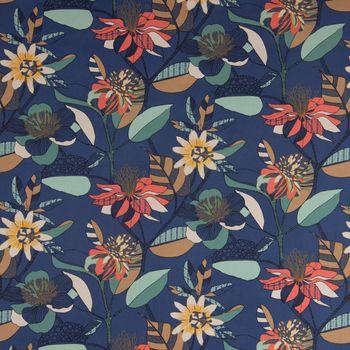 Dekostoff Baumwolle ECHINOPS große Blumen Blüten Blätter blau bunt 1,5m Breite – Bild 3