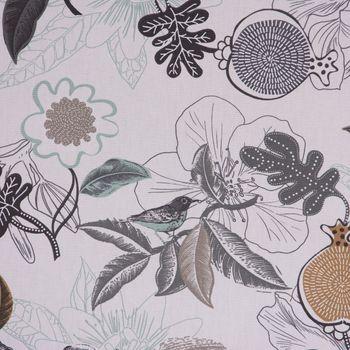 Dekostoff Baumwolle DIVALI Blumen Blüten Blätter Vogel weiß grau mint braun 1,5m Breite – Bild 3