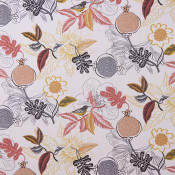 Dekostoff Baumwolle DIVALI Blumen Blüten Blätter Vogel weiß grau gelb rot 1,5m Breite – Bild 3