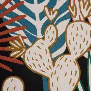 Dekostoff Baumwolle TARA Palmen Blätter Kaktus schwarz weiß grün blau rot gelb 1,5m Breite – Bild 1