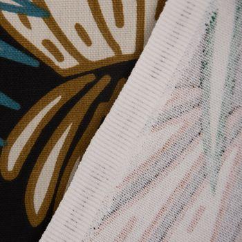 Dekostoff Baumwolle TARA Palmen Blätter Kaktus schwarz weiß grün blau rot gelb 1,5m Breite – Bild 2