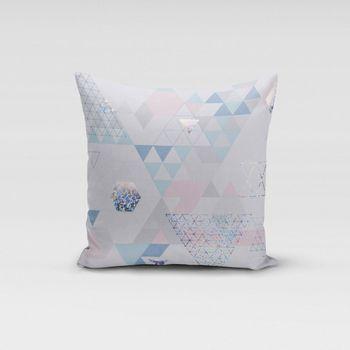 SCHÖNER LEBEN. Kissenhülle Metallic Dreiecke weiß blau rosa – Bild 12