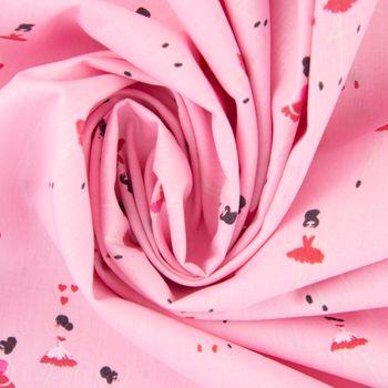 Baumwollstoff BALLERINA LOVE Ballerina rosa pink weiß 1,5m Breite – Bild 4