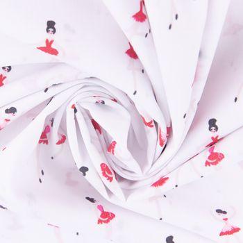 Baumwollstoff BALLERINA LOVE Ballerina weiß pink 1,5m Breite – Bild 4