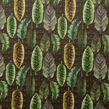 Samtstoff Dekostoff Velvet Deluxe Samt Tropical Blätter grün braun creme 1,4m – Bild 1