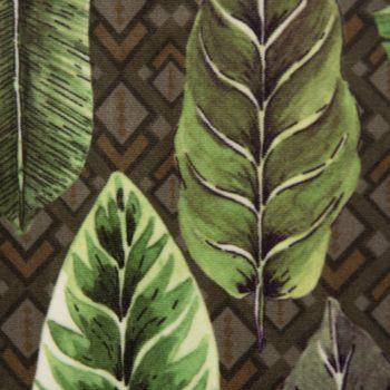 Samtstoff Dekostoff Velvet Deluxe Samt Tropical Blätter grün braun creme 1,4m – Bild 3