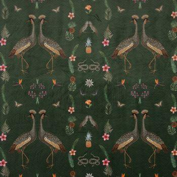 SCHÖNER LEBEN. Vorhang Velvet Deluxe Samt Tropical Vögel Blumen grün bunt 245cm oder Wunschlänge – Bild 5