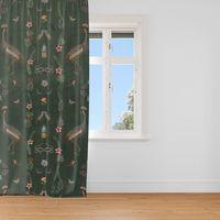 SCHÖNER LEBEN. Vorhang Velvet Deluxe Samt Tropical Vögel Blumen grün bunt 245cm oder Wunschlänge 001
