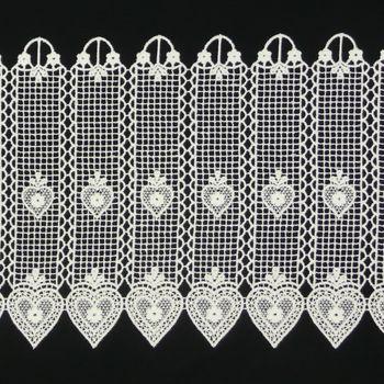 Bistrogardine Häkelgardine Spitze Herz weiß 26cm – Bild 2