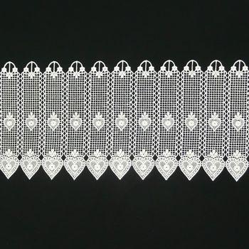 Bistrogardine Häkelgardine Spitze Herz weiß 26cm – Bild 1
