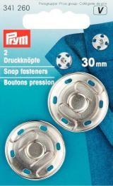 Prym 2 Annäh Druckknöpfe 30mm silberfarbig