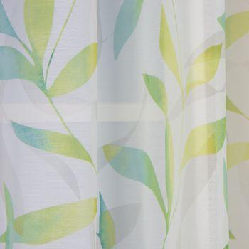 Ösenvorhang Blätter Voile grün töne weiß 140x255cm – Bild 5