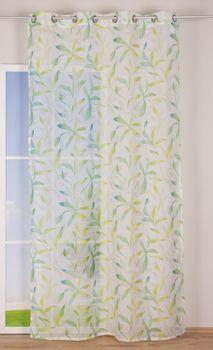 Ösenvorhang Blätter Voile grün töne weiß 140x255cm – Bild 6