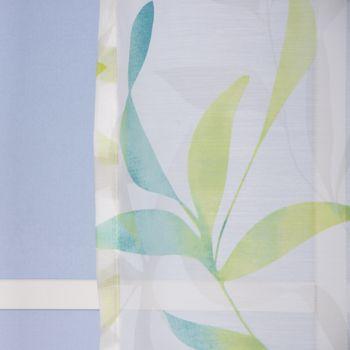 Ösenvorhang Blätter Voile grün töne weiß 140x255cm – Bild 8
