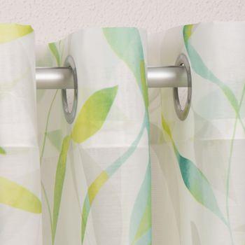Ösenvorhang Blätter Voile grün töne weiß 140x255cm – Bild 9