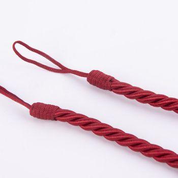 Hochwertige Vorhangkordel Raffhalter-Kordel 75cm in seidiger Optik mit Aufhängeschlaufen rot – Bild 1