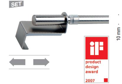 Gardinenstange Klemmstange Spannfix ausziehbar 40-60cm 1Stück Edelstahloptik