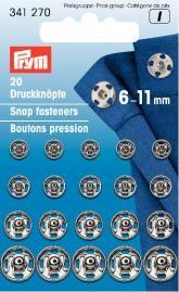 Prym 20 Annäh Druckknöpfe silberfarbig 6-11mm