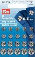 Prym 20 Annäh Druckknöpfe silberfarbig 6-11mm  001