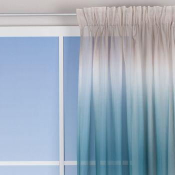 Schlaufenvorhang Farbverlauf beige weiß blau grün 140x255cm – Bild 1