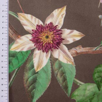 Samtstoff Dekostoff Velvet Deluxe Samt Tropical Vögel Pflanzen braun bunt 1,4m Breite – Bild 4