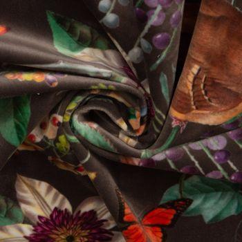 Samtstoff Dekostoff Velvet Deluxe Samt Tropical Vögel Pflanzen braun bunt 1,4m Breite – Bild 6