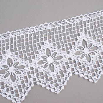 Borte Häkelborte Häkelspitze weiß Blume 10cm  – Bild 2