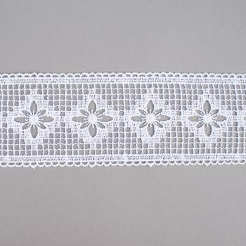 Borte Häkelborte Häkelspitze Einsatz weiß Blume 10cm  – Bild 1