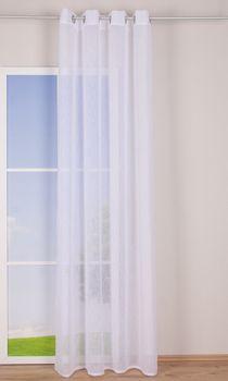 Ösengardine Leinenoptik uni weiß 140x260cm – Bild 2