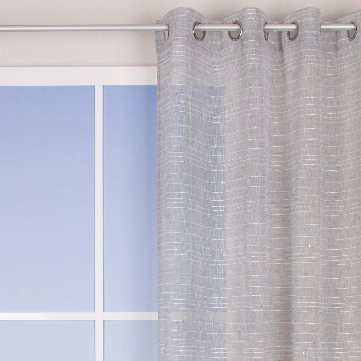 sengardine schnurstreifen mit glitzerpailletten grau wei 135x260cm inspirationen stilwelten. Black Bedroom Furniture Sets. Home Design Ideas