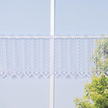 Bistrogardine Scheibengardine KAROLINE Cafehaus Macramée Meterware weiß 23cm Höhe – Bild 1