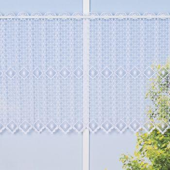 Bistrogardine Scheibengardine KAROLINE Cafehaus Macramée Meterware weiß 45cm Höhe – Bild 1