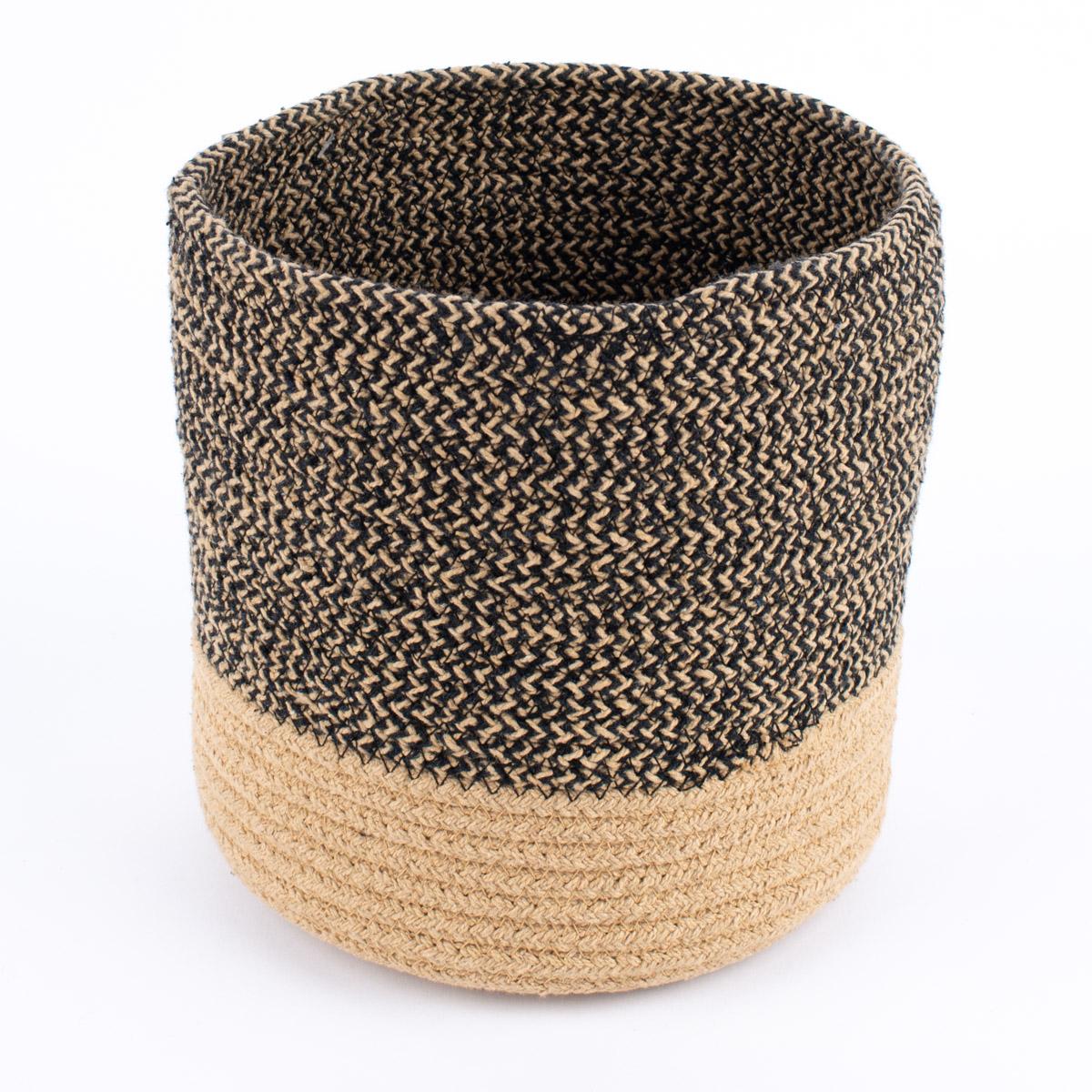 Aufbewahrungskorb geflochten Baumwolle schwarz natur verschiedene Größen